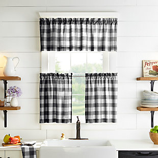 "Home Accents Farmhouse Living Buffalo Check Kitchen Tier Window Curtain Set of 2, Black/White, 30"" x 24"", Black, large"