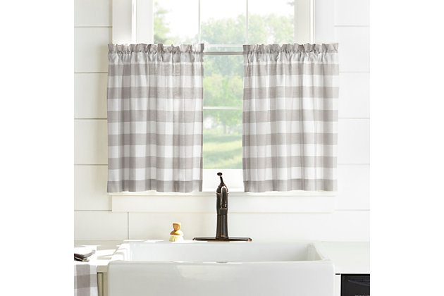 """Home Accents Farmhouse Living Buffalo Check Kitchen Tier Window Curtain Set of 2, Gray/White, 30"""" x 24"""", Gray, large"""