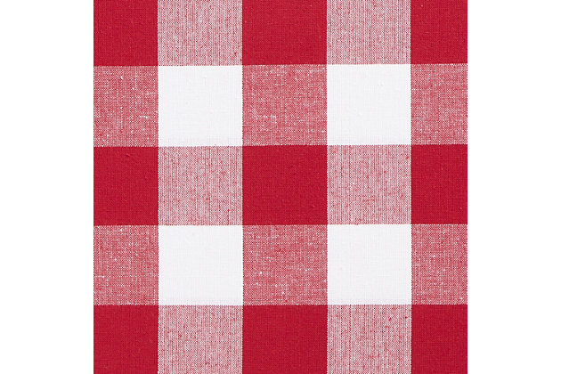 """Home Accents Farmhouse Living Buffalo Check Kitchen Tier Window Curtain Set of 2, Red/White, 30"""" x 24"""", Red, large"""