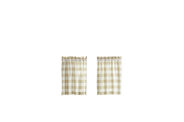 "Home Accents Farmhouse Living Buffalo Check Kitchen Tier Window Curtain Set of 2, Tan/White, 30"" x 24"", Tan, large"