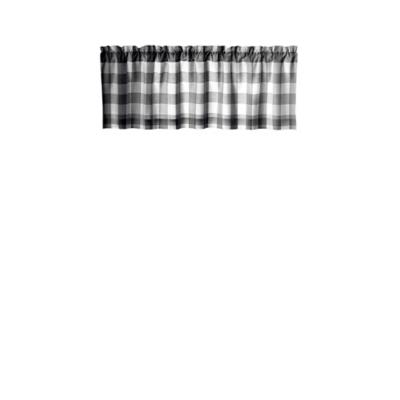 "Home Accents Farmhouse Living Buffalo Check Window Valance, Black/White, 60"" x 15"", Black, large"