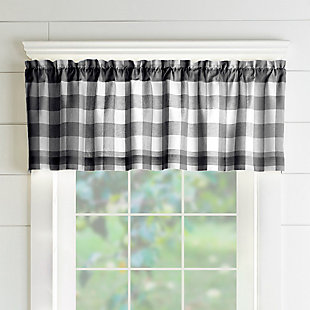 "Home Accents Farmhouse Living Buffalo Check Window Valance, Black/White, 60"" x 15"", Black, large"