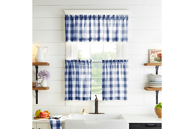 "Home Accents Farmhouse Living Buffalo Check Window Valance, Blue/White, 60"" x 15"", Blue, large"