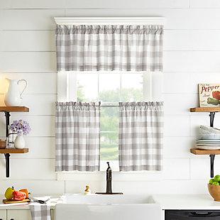 "Home Accents Farmhouse Living Buffalo Check Window Valance, Gray/White, 60"" x 15"", Gray, large"