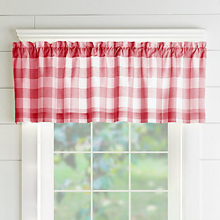 """Home Accents Farmhouse Living Buffalo Check Window Valance, Red/White, 60"""" x 15"""", Red, large"""
