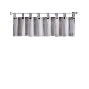 "Home Accents Tucker Ticking Stripe Button Tab Top Window Kitchen Valance, Gray, 60"" x 15"", Gray, rollover"