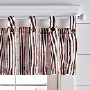 """Home Accents Tucker Ticking Stripe Button Tab Top Window Kitchen Valance, Red, 60"""" x 15"""", Red, large"""