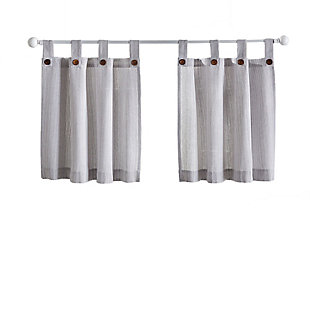 "Home Accents Tucker Ticking Stripe Button Tab Top Kitchen Window Tier Set of 2, Gray, 30"" x 36"", Gray, rollover"
