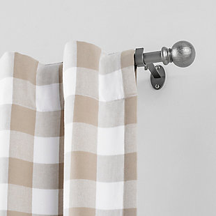 "Home Accents Farmhouse Ball Single Curtain Rod, Pewter, 28""- 48"" Adjustable Rod, Pewter, rollover"