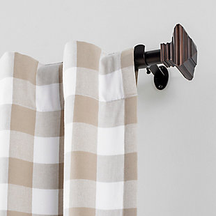 """Home Accents Florence 1"""" Window Drapery Single Curtain Rod with Square Finial, Antique Bronze, 28""""- 48"""" Adjustable Rod, Antique Bronze, rollover"""