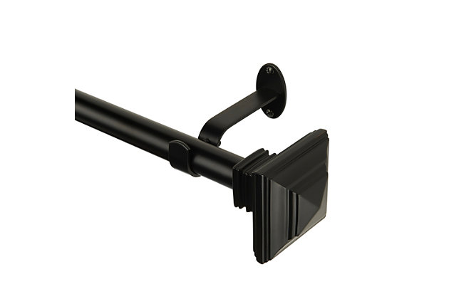 """Home Accents Florence 1"""" Window Drapery Single Curtain Rod with Square Finial, Antique Black, 48""""- 86"""" Adjustable Rod, Antique Black, large"""