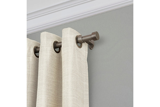 """Home Accents Serena Window Drapery Single Curtain Rod, Polished Nickel, 48""""-86"""", Polished Nickel, large"""