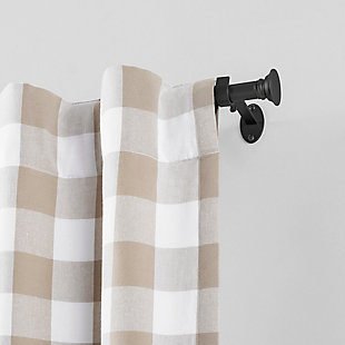 """Home Accents Shaker Window Drapery Single Curtain Rod, Wrought Iron, 28""""- 48"""" Adjustable Rod, Black, rollover"""