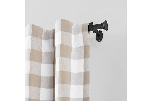 "Home Accents Shaker Window Drapery Single Curtain Rod, Wrought Iron, 28""- 48"" Adjustable Rod, Black, large"