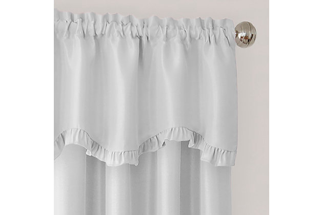 """Home accents Adaline Nursery and Kids Ruffled Window Valance, Pearl Gray, 52"""" x 15"""", Pearl Gray, large"""