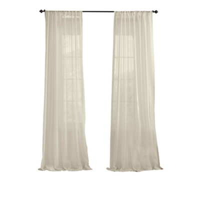 """Home accents Asher Cotton Voile Sheer Window Curtain Panel, Ivory, 52"""" x 84"""", Ivory, large"""
