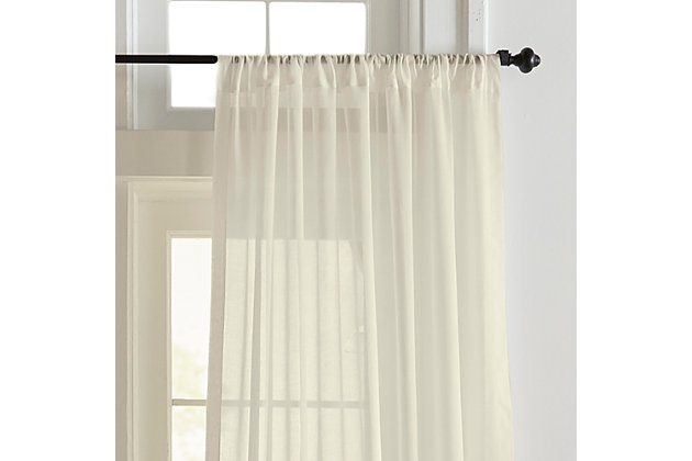 "Home accents Asher Cotton Voile Sheer Window Curtain Panel, Ivory, 52"" x 84"", Ivory, large"
