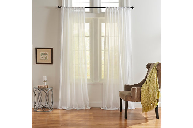 """Home accents Asher Cotton Voile Sheer Window Curtain Panel, White, 52"""" x 84"""", White, large"""