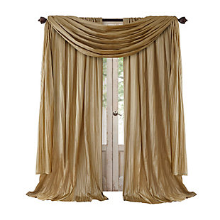 """Home accents Athena Faux Silk Window Curtain and Scarf Set, Gold, 52"""" x 95"""", Gold, large"""