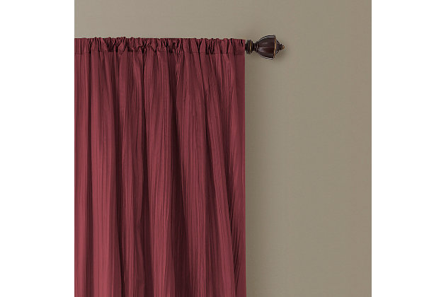 """Home accents Athena Faux Silk Window Curtain and Scarf Set, Red, 52"""" x 95"""", Red, large"""
