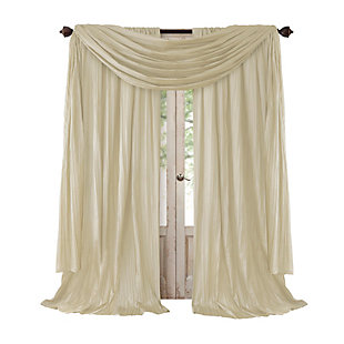 "Home accents Athena Faux Silk Window Curtain and Scarf Set, Ivory, 52"" x 84"", Ivory, rollover"
