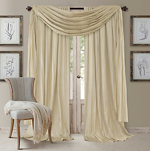 "Home accents Athena Faux Silk Window Curtain and Scarf Set, Ivory, 52"" x 84"", Ivory, large"