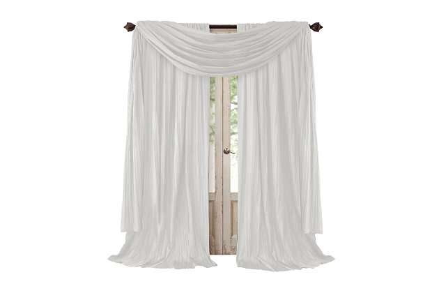 "Home accents Athena Faux Silk Window Curtain and Scarf Set, White, 52"" x 84"", White, large"