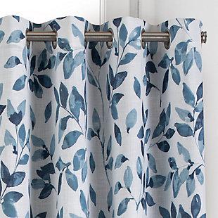 "Home accents Avalon Botanical Floral Leaf Print Blackout Window Curtain Panel, Indigo, 52"" x 95"", Indigo, large"