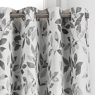 """Home accents Avalon Botanical Floral Leaf Print Blackout Window Curtain Panel, Gray, 52"""" x 84"""", Gray, large"""