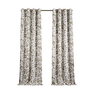 "Home accents Avalon Botanical Floral Leaf Print Blackout Window Curtain Panel, Linen, 52"" x 84"", Linen, rollover"