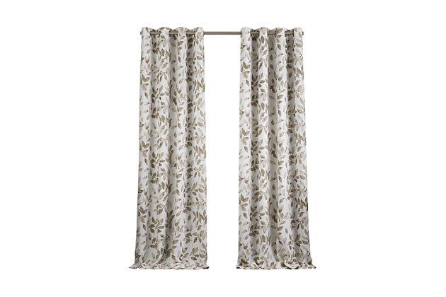 """Home accents Avalon Botanical Floral Leaf Print Blackout Window Curtain Panel, Linen, 52"""" x 84"""", Linen, large"""