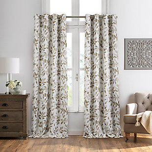 "Home accents Avalon Botanical Floral Leaf Print Blackout Window Curtain Panel, Linen, 52"" x 84"", Linen, large"