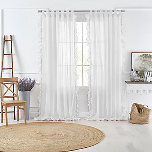 """Home accents Bella Tab-Top Ruffle Sheer Window Curtain Panel, White, 52"""" x 84"""", White, large"""