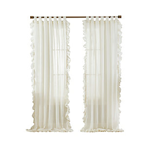 "Home accents Bella Tab-Top Ruffle Sheer Window Curtain Panel, Ivory, 52"" x 84"", Ivory, rollover"