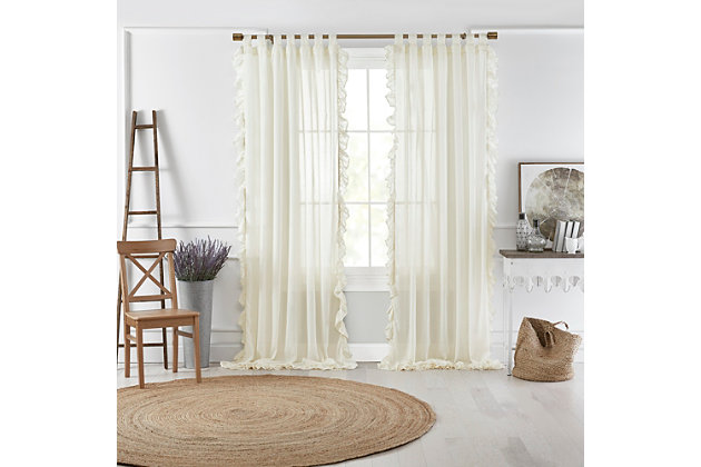 "Home accents Bella Tab-Top Ruffle Sheer Window Curtain Panel, Ivory, 52"" x 84"", Ivory, large"