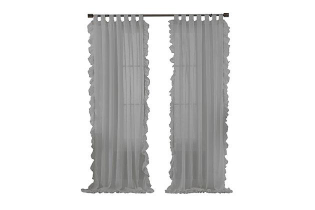 "Home accents Bella Tab-Top Ruffle Sheer Window Curtain Panel, Gray, 52"" x 84"", Gray, large"