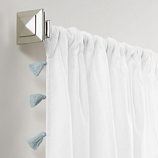 """Home accents Bianca Sheer Window Curtain Panel with Tassels, Blue, 52"""" x 84"""", Blue, large"""