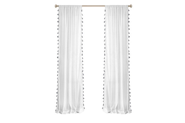 """Home accents Bianca Sheer Window Curtain Panel with Tassels, Gray, 52"""" x 84"""", Gray, large"""