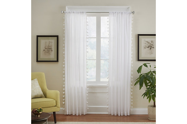"""Home accents Bianca Sheer Window Curtain Panel with Tassels, White, 52"""" x 84"""", White, large"""
