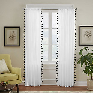 "Home accents Bianca Sheer Window Curtain Panel with Tassels, Black, 52"" x 84"", Black, large"