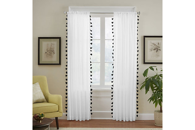 """Home accents Bianca Sheer Window Curtain Panel with Tassels, Black, 52"""" x 84"""", Black, large"""