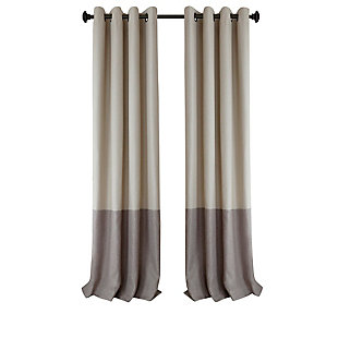 "Home accents Braiden Color Block Blackout Window Curtain Panel, Linen, 52"" x 84"", Linen, rollover"