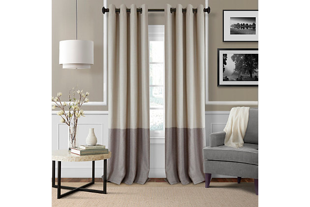 "Home accents Braiden Color Block Blackout Window Curtain Panel, Linen, 52"" x 84"", Linen, large"