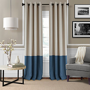 """Home accents Braiden Color Block Blackout Window Curtain Panel, Navy, 52"""" x 84"""", Navy, large"""