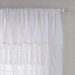 "Home accents Calypso Macrame Tassel Semi Sheer Window Curtain Panel, White, 52"" x 84"", White, large"