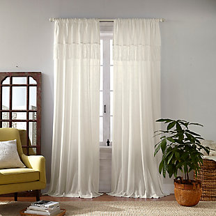 "Home accents Calypso Macrame Tassel Semi Sheer Window Curtain Panel, Ivory, 52"" x 84"", Ivory, large"