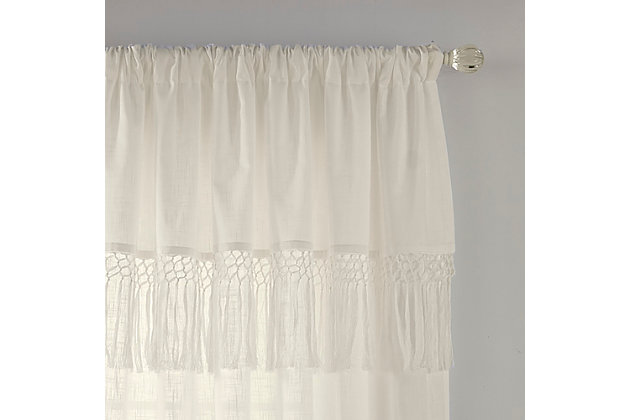 "Home accents Calypso Macrame Tassel Semi Sheer Window Curtain Panel, Ivory, 52"" x 84"", Ivory, large"