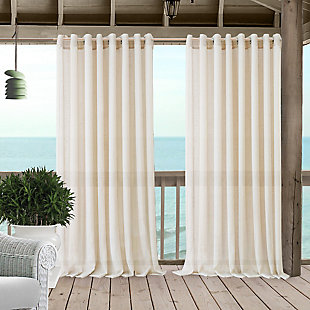 """Home accents Carmen Sheer Extra Wide Indoor/Outdoor Window Curtain with Tieback, Ivory, 114"""" x 108"""", Ivory, large"""