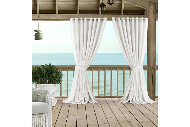 "Home accents Carmen Sheer Extra Wide Indoor/Outdoor Window Curtain with Tieback, White, 114"" x 108"", White, large"