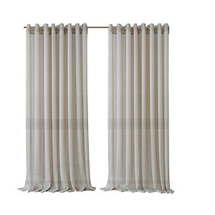 "Home accents Carmen Sheer Extra Wide Indoor/Outdoor Window Curtain with Tieback, Natural, 114"" x 84"", Natural, rollover"